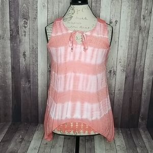 By & By pink and white tie dye sleeveless blouse
